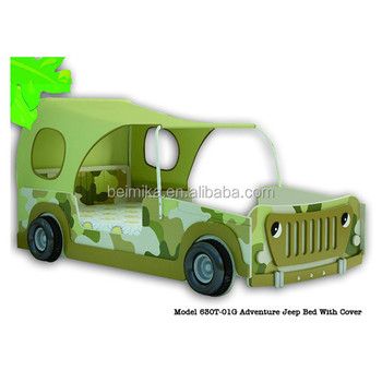 kids wood jeep car bed with cover kid car bed for sale