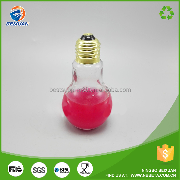 Mini Fancy Design 50 ml Light Bulb Shaped Fruit Juice Glass Bottle