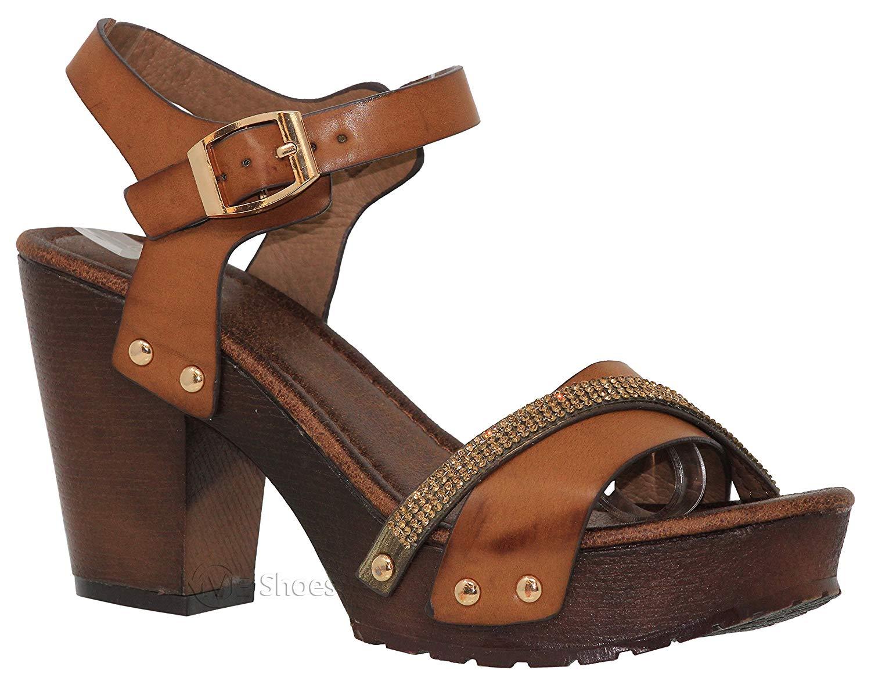6e3223a739268 Get Quotations · MVE Shoes Women s Ankle Strap Faux Wood Platform Chunky  Heel Sandal