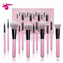 12 개 Personalized Private Brand Glitter Cute <span class=keywords><strong>빛</strong></span> Pink 가부키 메이 컵 Brush Set 와 Original Pink Gift Box