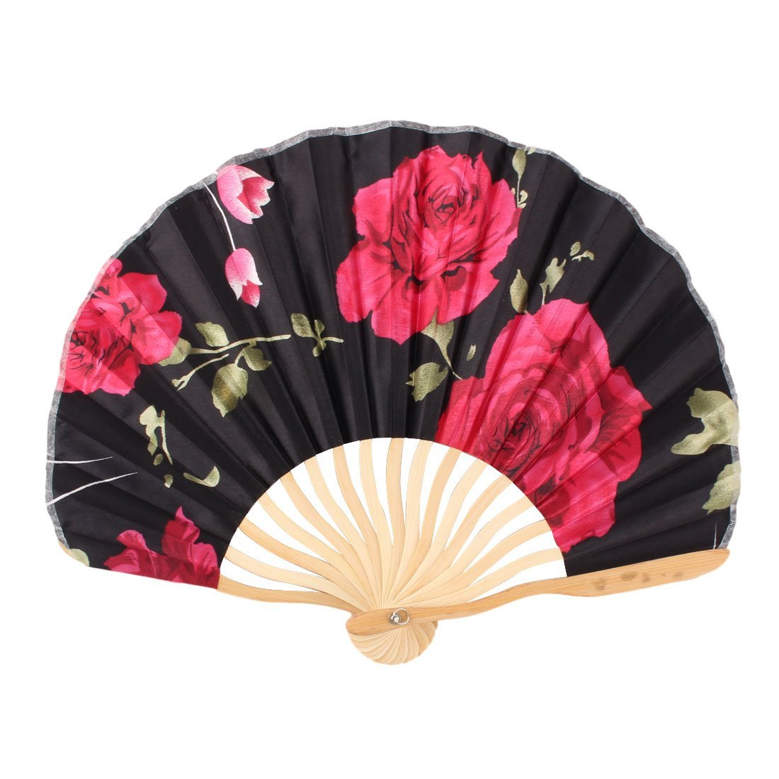 uxcell Rose Printed Bamboo Frame Dancing Wedding Party Summer Hand Folding Cooling Fan