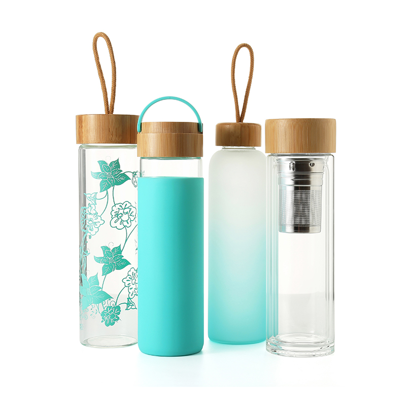 Everich unbreakable glass water <strong>bottle</strong> with soft sleeve / silicone seal with bamboo lids