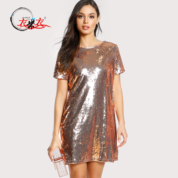 Women Sequin Dress Design Short Sleeve Round Neck Metallic Gold Sequin Tunic Short Mini Dress