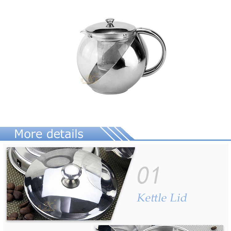 Stainless steel glass kettle FT-01308