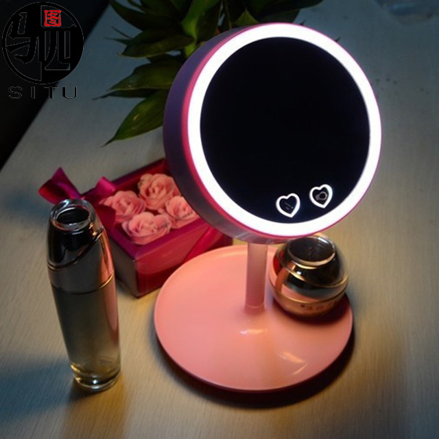 3-in-1 LED Vanity makeup Mirror With LED Lights USB Rechargeable Table Colorful bedside Lamps Dressing Storage Box
