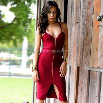 8d67dd11d4 New Style Bodycon Dress Backless Deep V Neck Front Zipper Split Party Dress  Woman Plain Sexy