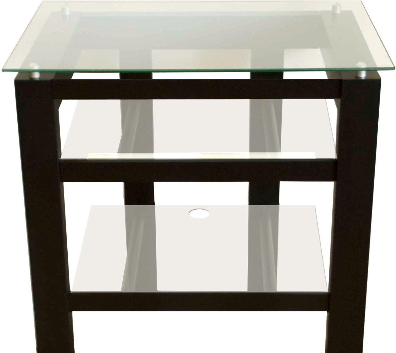26 Inch Low Profile Flat Screen TV Stand - Glass Shelf