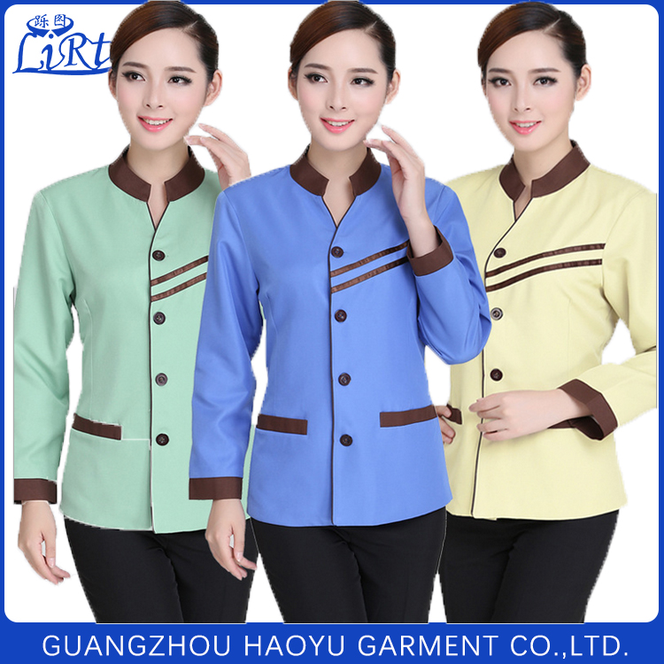 Custom hotel uniform design three colors maid uniform cleaning staff uniform for women