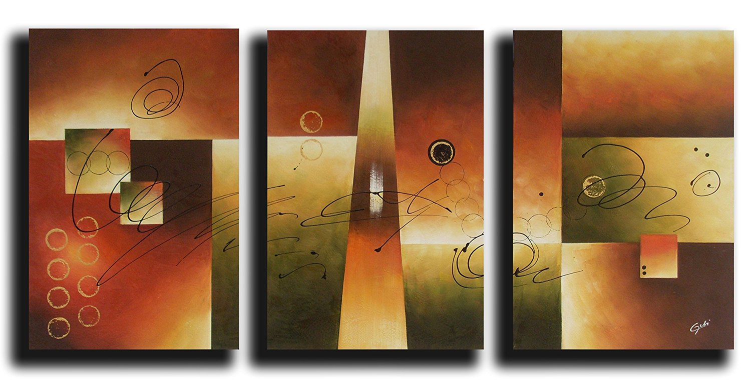Ode-Rin Art Christmas Gift 100% Hand Painted Abstract Ode-Rin Art Christmas Gift Oil Paintings Various Shapes 3 Panels Wood Framed Inside For Living Room Art Work Home Decoration