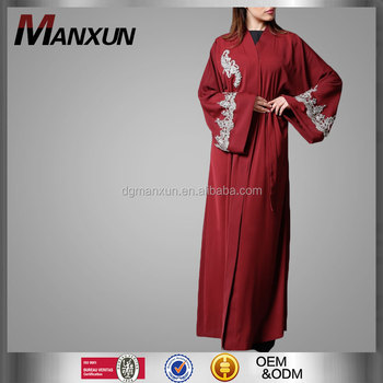 2017 custom embroidered open front abaya latest fashion red dubai kimono dress