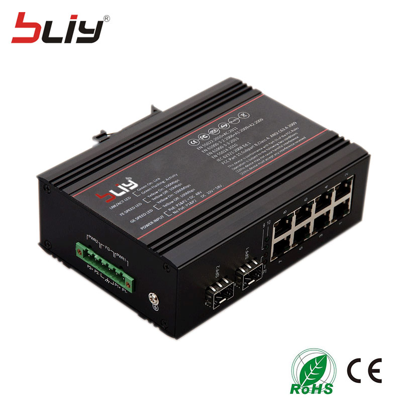 8 Port Rj45 Gigabit Industrial Switch Poe, Industrial Ethernet Poe Switch With 2 Fiber Ports SFP Connector