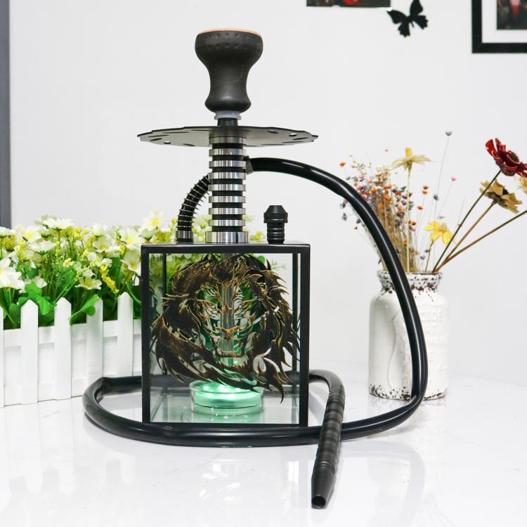 Wholesale Hot Selling Smoke Hookah Stainless Steel Nargile Acrylic Hookah Shisha Lounge Furniture
