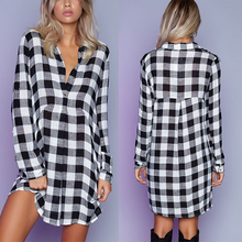 Hot sale white and black checks deep V neck long sleeve BF style casual shirt dress for girls
