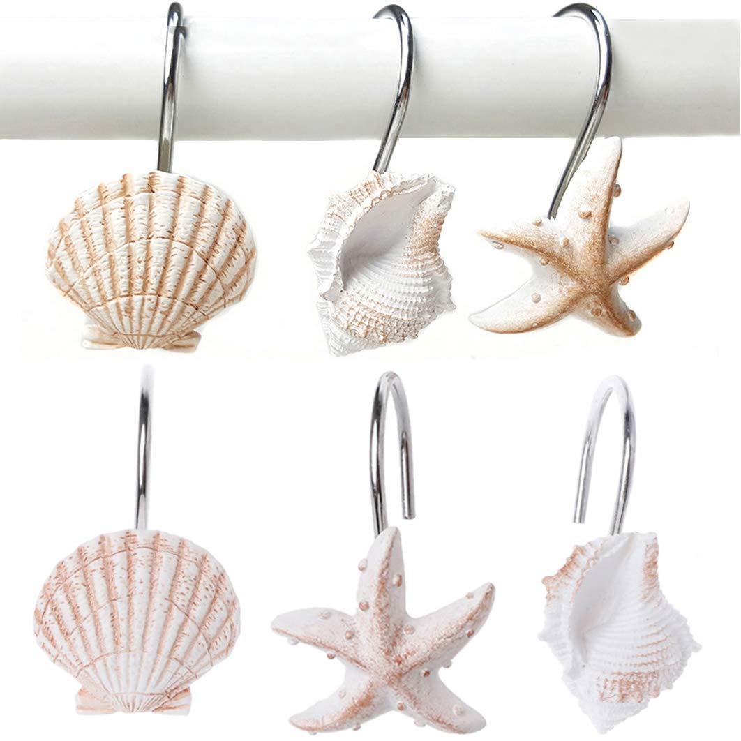 Get Quotations YUKUNTANG Shower Curtain Hooks 12 Pcs Seashell Anti Rust Decorative Resin Rings