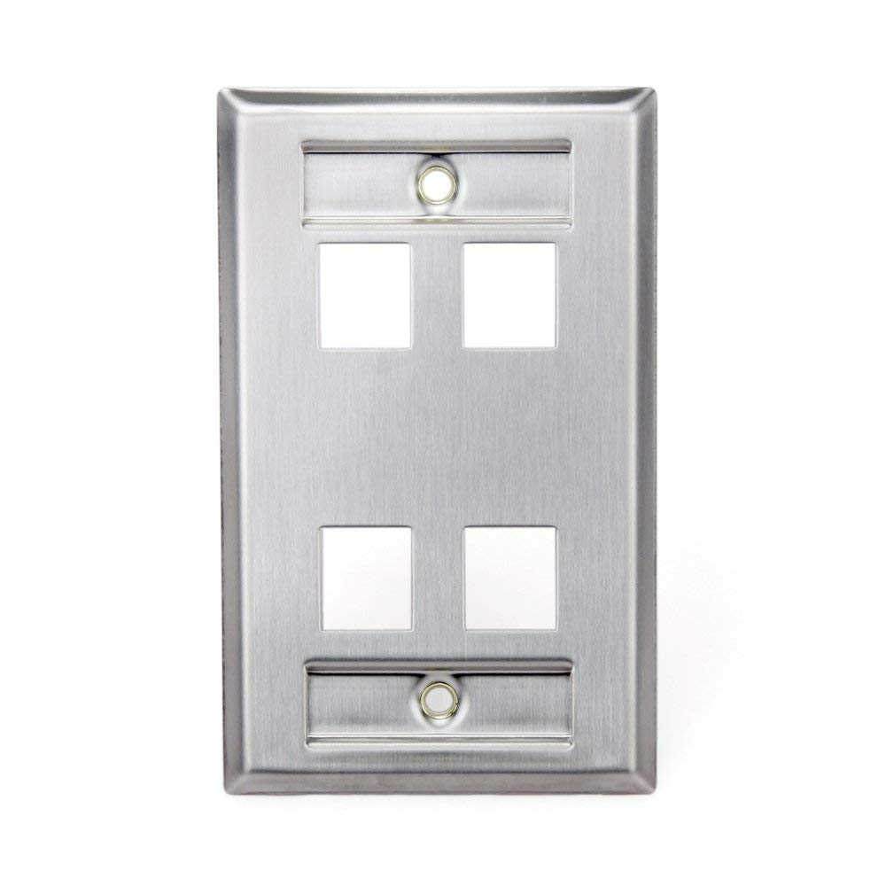 Leviton 43080-1L4 QuickPort Wallplate, Single Gang, 4-Port, Stainless Steel, with Designation Window