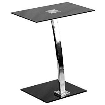 Laptop Computer Desk with Silk Black Tempered Glass Top & Chrome Computer Stand