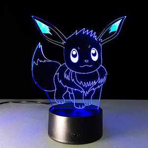 3D night light Pikachu model acrylic collection custom anime pokemon plexiglass display stand with base for gifts