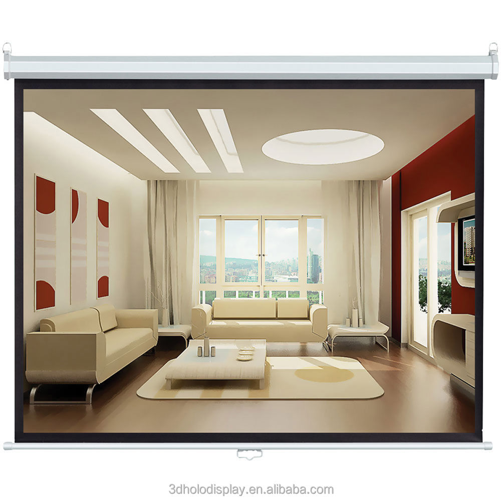 "120"" Manual Projection Screen With Matte White Fabric,Projection Screen"