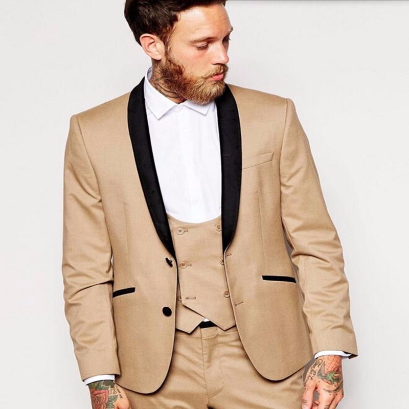 Hb039 Khaki Latest Groom Tuxedos Black Lapel Men Wedding Suits ...