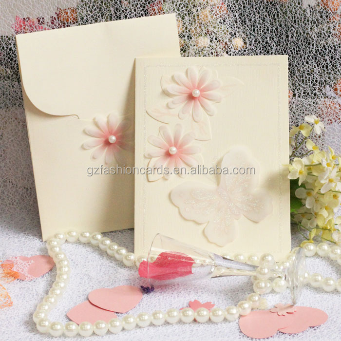 Wholesale Chinese Fashionable Unique Flowers Wedding Invitation Card