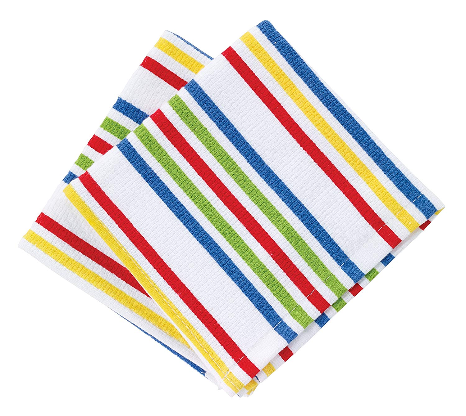 "T-fal Textiles Highly Absorbent 100% Cotton Double Sided Printed Dish Cloths, 12"" x 12"", Set of 2, Striped Red/Multi Pattern"