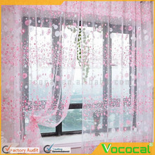 100 x 200cm Country Style Floral Pattern Pierced Tulle Door Window Curtain Drape Sheer Pink