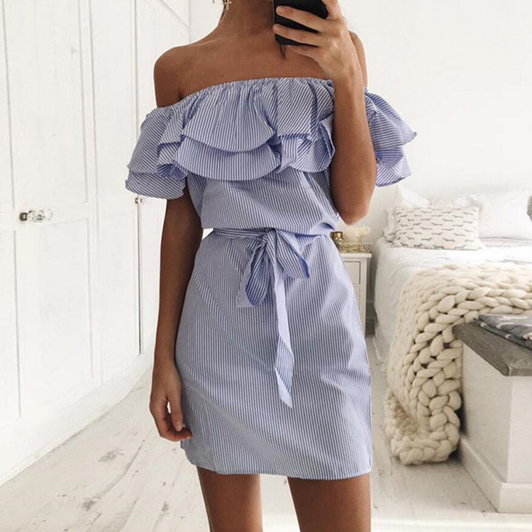 Top Quality Women Summer Casual Sexy Off Shoulder Ruffles Stripe Party Short <strong>Dress</strong> Plus Size