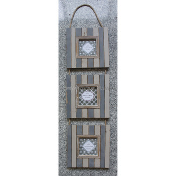 Western Style Rope Hanging Wood Metal 3-photo Wall Photo Frames ...