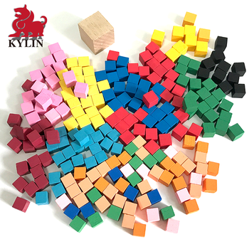 Wooden Color Cubes - Mathematics Learning Tool & Educational Teacher Resource for Sorting, Measuring, Counting & Base