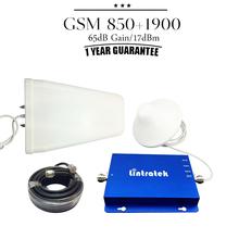 Repetidor De Sinal Celular 850 mhz 1900mhz  65dB Gain GSM 850 1900 Dual Band Mobile Signal Repeater CDMA PCS Booster Amplifier