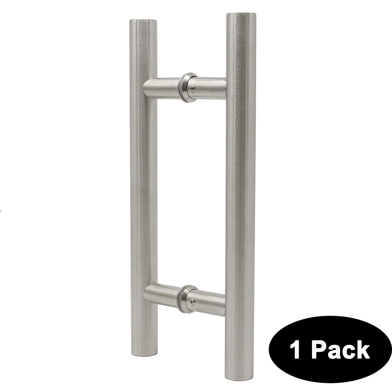 "Probrico 1 Pack Gate Door Pull 12"" 305mm Barn Glass Wood Door Handle T Bar Two Sides Large 304 Stainless Steel Heavy Duty Door Pulls Brushed Nickel"