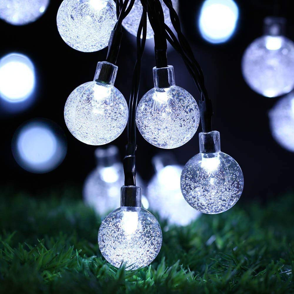Solar Globe String Lights 20 LED Sinohomie Crystal Bubble Ball Fairy Lights Waterproof 8 Modes Outdoor Indoor Garden Patio Backyard Halloween Weddings Xmas Holiday Party Decor (White)