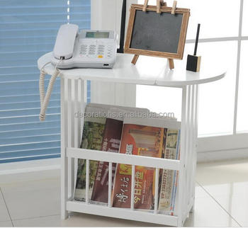 Solid Wood Foldable Tea Table With Magazine Holder
