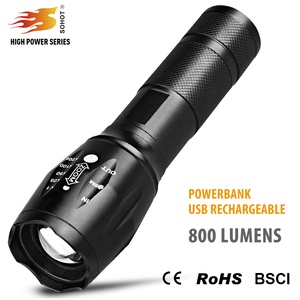 Power bank zoomable USB rechargeable 18650 led portable tactical flashlight