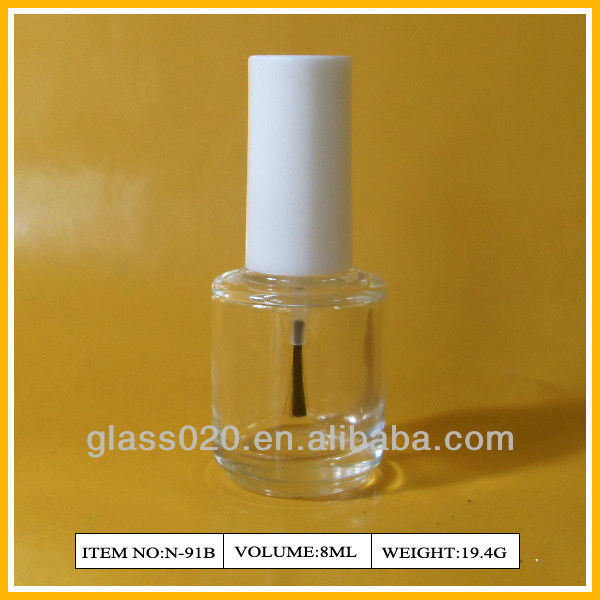 White cap 8ml nail polish glass bottle