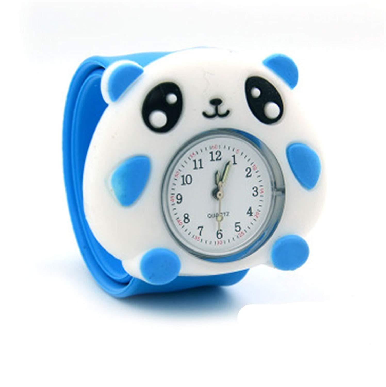 Vavna Lovely Top Quality Boys Girls Fashion Cartoon Animal Silicone Slap Snap On Wrist Watch - Bule Panda