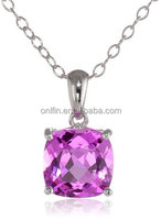 925 Sterling Silver and Pink CZ Solitaire Pendant Necklace