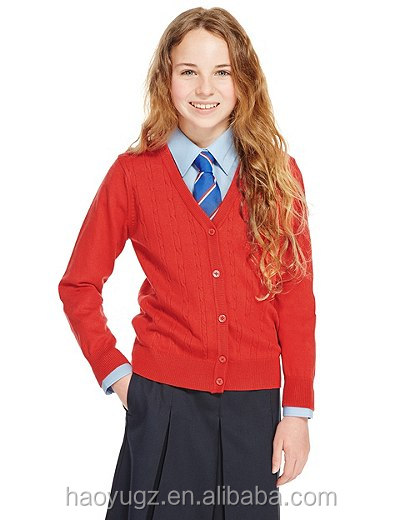 Red sweater international school uniform cardigan for kids