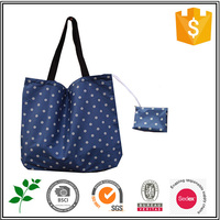 Cheap Personalized Attached Pouch Polyester Fold Shopping Tote Bag With Foldable Pouch