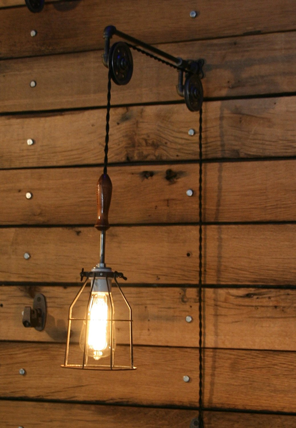 Pulley Wall Mount With Cage Light And Wooden Handle Pendant By Rewind