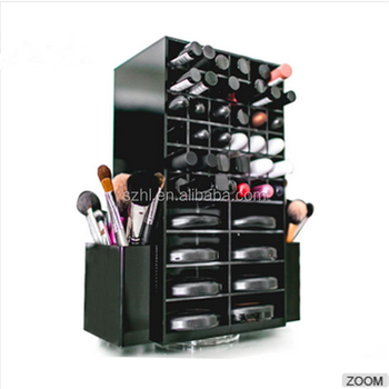 Storage Cosmetic Makeup Brush Holder Rotating Acrylic Lipstick Holder /  Lipstick Display Stand Rack/ Spinning