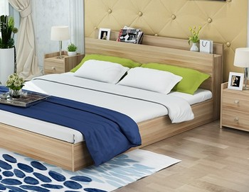 Beau SC0248Home Bedroom Furniture Pine Wooden Bed Simple Wooden Headboard  Cabinet Bed
