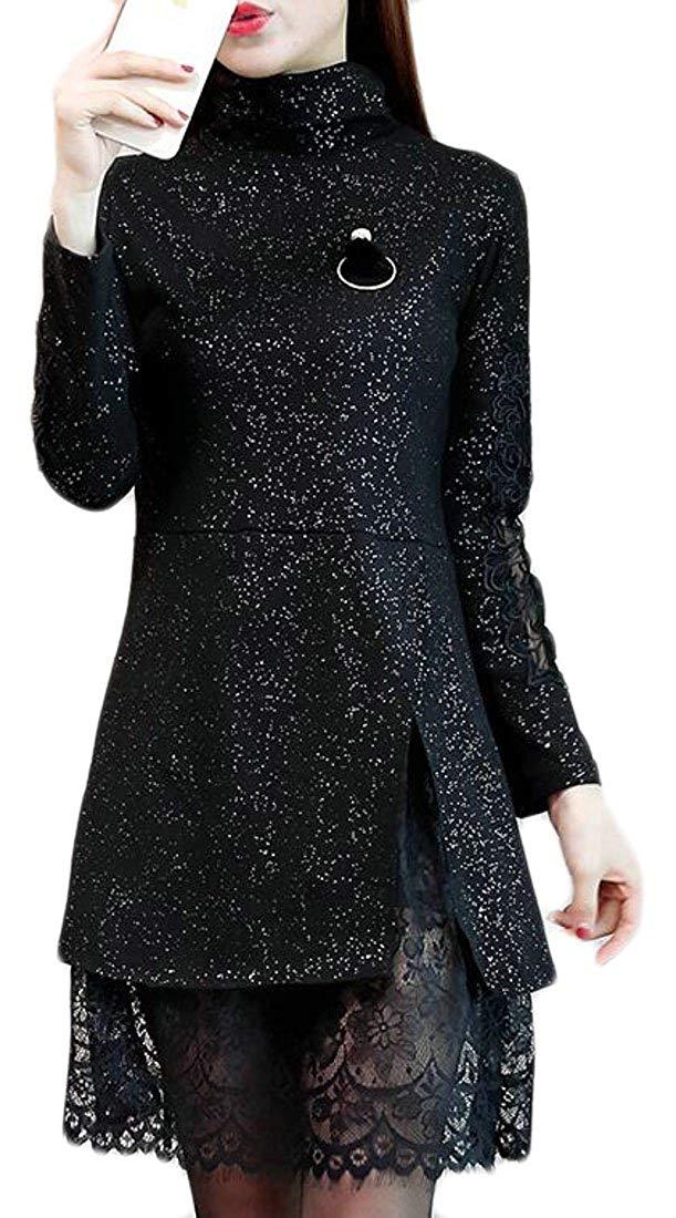 Alion Womens Classic Bronzing Mock Neck Lace Hem Thicken Pencil Dress