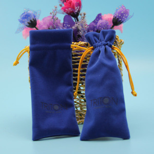 High quality promotional navy blue velvet pouch