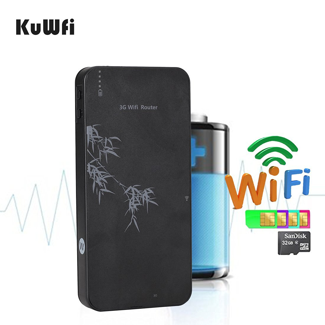 KuWFi Smart Moblie Power Bank 3G WIFI Router Mobile wifi Hospot Wireless Router RJ45 port with SIM Card slot Support WCDMA 2100Mhz Router With TF Port /RJ45 Lan port (not inclued SIM Card)