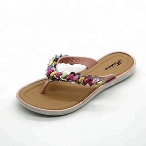 32f08d461 Fashion Nude Crystal Leather PCU Outsole China Fancy Flip Flops