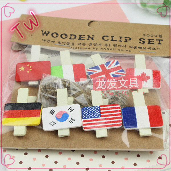 amazon ebay hotsale 2017 Decorative bookmarks for books ,free samples different kinds flag shaped wooden paper <strong>clips</strong>