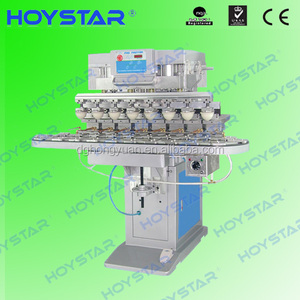 Hot Selling Semi Auto 8 Color pen/pvc sheet/bottle caps Pad Printer For Sale With Rotary Worktable(GW-M8C)