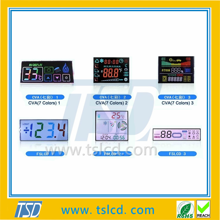 Alphanumeric Medical Monochrome lcd screen Custom Size 7 Segment FSTN LCD display