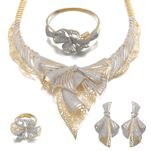 African Jewelry Sets Woman Luxury Wedding Gold Plated Jewelry Sets for Woman